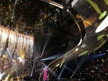 Schluss von Eurovision 2017 auf dem Stadium des internationalen Exhib Stockfoto