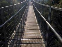 Schmale Brücke, die einen Wald überspannt Stockbilder