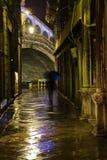 Schmale Gasse in Venedig nachts stockbild