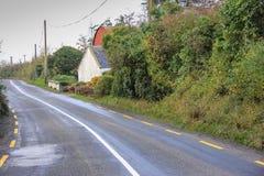 Schmale Land-Straße in Irland Stockbild