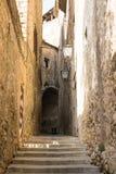 Schmale mittelalterliche Straße, Treppe in der Mitte in Girona, Spanien Stockfoto