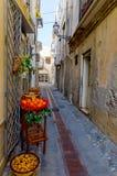Schmale Straße in der mittelalterlichen italienischen Stadt lizenzfreie stockfotografie