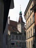 Schmale Straße in Lausanne, Swi Lizenzfreie Stockfotos