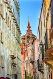 Schmale Street Templo De La Compania Street Guanajuato Mexiko Lizenzfreie Stockfotos