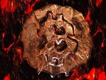 Schmelze Bitcoin Wirkliche Münze schmilzt auf glühender Oberfläche als Symbol des heißen Preises oder des kritischen Falles lizenzfreies stockbild