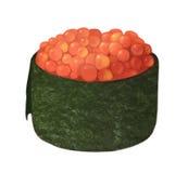Schmelzen Sie Rogen masago Sushi mit Algen und Kaviar auf einem weißen Hintergrund Stockfotografie