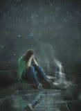 Schmelzende Weise in einem Sturm Stockfoto