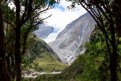 Schmelzender Fox-Gletscher in Neuseeland Stockfotos