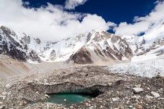 Schmelzender Gletscher in niedrigem Lager Everest Himalaja-Berge global Lizenzfreie Stockfotos