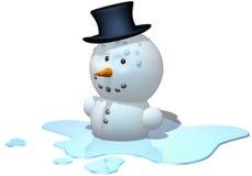 Schmelzender Schneemann Stockfoto