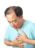 Schmerz in der Brust stockbild