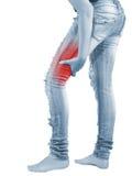 Schmerz in der Frauenkniesehne Stockfoto