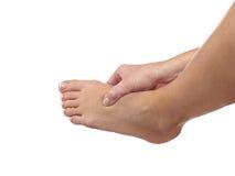 Schmerz in einem Fuß Trägt Trauma zur Schau Stockfotografie