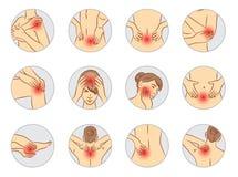 Schmerzvektorsatz, Frauenkörperteile Lizenzfreies Stockbild