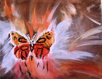 Schmetterling auf abstrakter Sandsturmmalerei Stockfoto