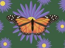 Schmetterling auf gestreiftem Hintergrund, Designvektorillustration Lizenzfreie Stockfotografie