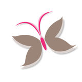 Schmetterling beflügelt Logo Symbol im Braun und im Rosa Stockbilder