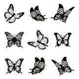 Schmetterling der gesetzten Vektorillustration der Schattenbildikone Lizenzfreie Stockfotografie