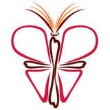 Schmetterling des Kreuzes, des Herzens und der offenen Bibel stockfotografie