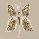 Schmetterling - die Frau der Mode. Lizenzfreie Stockfotos