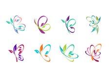 Schmetterling, Logo, Schönheit, Badekurort, entspannen sich, Yoga, Lebensstil, die abstrakten Schmetterlinge, die vom Symbolikone Lizenzfreie Stockbilder
