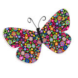 Schmetterling mit buntem Blumenvektorhintergrund Lizenzfreie Stockfotos