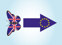 Schmetterling mit der Flagge von Großbritannien Stockfotos