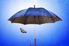 Schmetterling unter Regenschirm im regnerischen Wetter Lizenzfreie Stockfotos