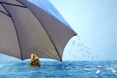 Schmetterling unter Regenschirm im regnerischen Wetter Lizenzfreies Stockbild