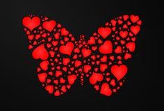 Schmetterling von Herzen Stockfotografie