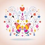 Schmetterling, Wolken, Blumen, Diamanten, Regentropfenkarikaturnatur-Vektorillustration Stockbild