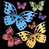 Schmetterlinge bunt auf dem schwarzen Hintergrund T-Shirt Druck stockfotos