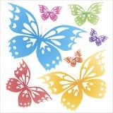 Schmetterlinge bunt auf dem weißen Hintergrund T-Shirt Druck stockbilder