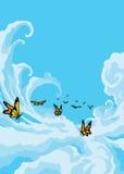 Schmetterlinge, die in den blauen Himmel fliegen stock abbildung