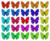 Schmetterlinge, die Konzept von Farben, Menge, Unterschied, Steigung, Wiederholung zeigen stockfotografie