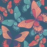 Schmetterlinge in nahtlosem Muster Korallen-und Quetzal-Grün Backround vektor abbildung
