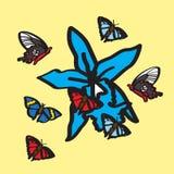 Schmetterlinge und blaue Orchidee stock abbildung