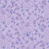 Schmetterlinge und Blumen auf einem Lavendelhintergrund lizenzfreie abbildung