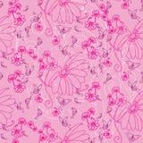 Schmetterlinge und Blumen im Rosa lizenzfreie abbildung