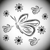 Schmetterlinge und Blumen Schwarzweiss-Schattenbildskizze Stockfoto