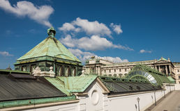 Schmetterlinghaus roof and Neue Burg facade in Vienna Stock Images