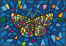 Schmetterlings-Buntglas-Mosaikunsch?rfehintergrund stock abbildung