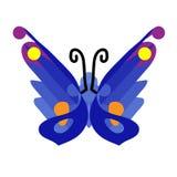 Schmetterlings-Ikone in der Ebene Blaue Schmetterlingsikone Gestaltungselement, Zeichen, Symbol Getrennte Nachricht auf weißem Hi lizenzfreie abbildung
