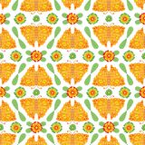 Schmetterlings-und Blumen-Blumenvolksvektor-Muster stock abbildung