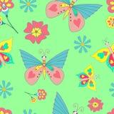 Schmetterlings-und Blumen-hellgrüner Hintergrund Stockfotografie