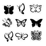 Schmetterlings-Vektor-Ikonen-Vorrat Vektoren, Illustrationen u. Clipart auf Lager Lizenzfreie Stockfotografie