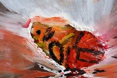 Schmetterlingsflügel auf abstrakter Sandsturmmalerei Stockbild