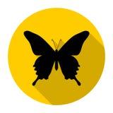 Schmetterlingsikone mit langem Schatten Lizenzfreies Stockfoto