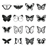 Schmetterlingsikonen eingestellt, einfache Art Stockfotografie