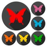 Schmetterlingsikonen eingestellt mit langem Schatten Stockfotos